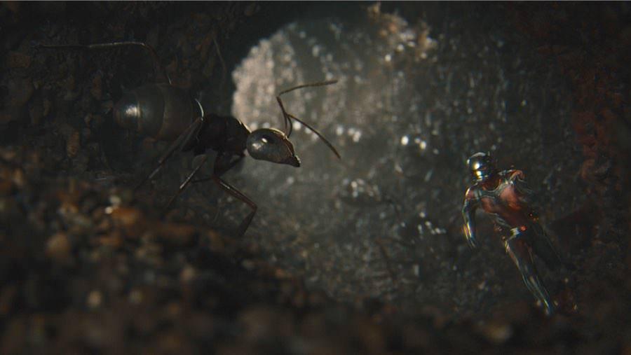 Aber natürlich bewachen die Ameisen ihren Bau und sind erstmal skeptisch als Ant-Man erscheint.