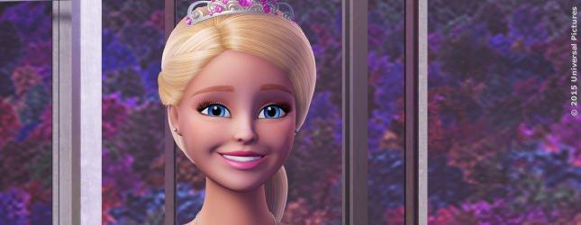 Barbie als Prinzessin Courtney auf dem Weg ins Rockstar Camp am See.