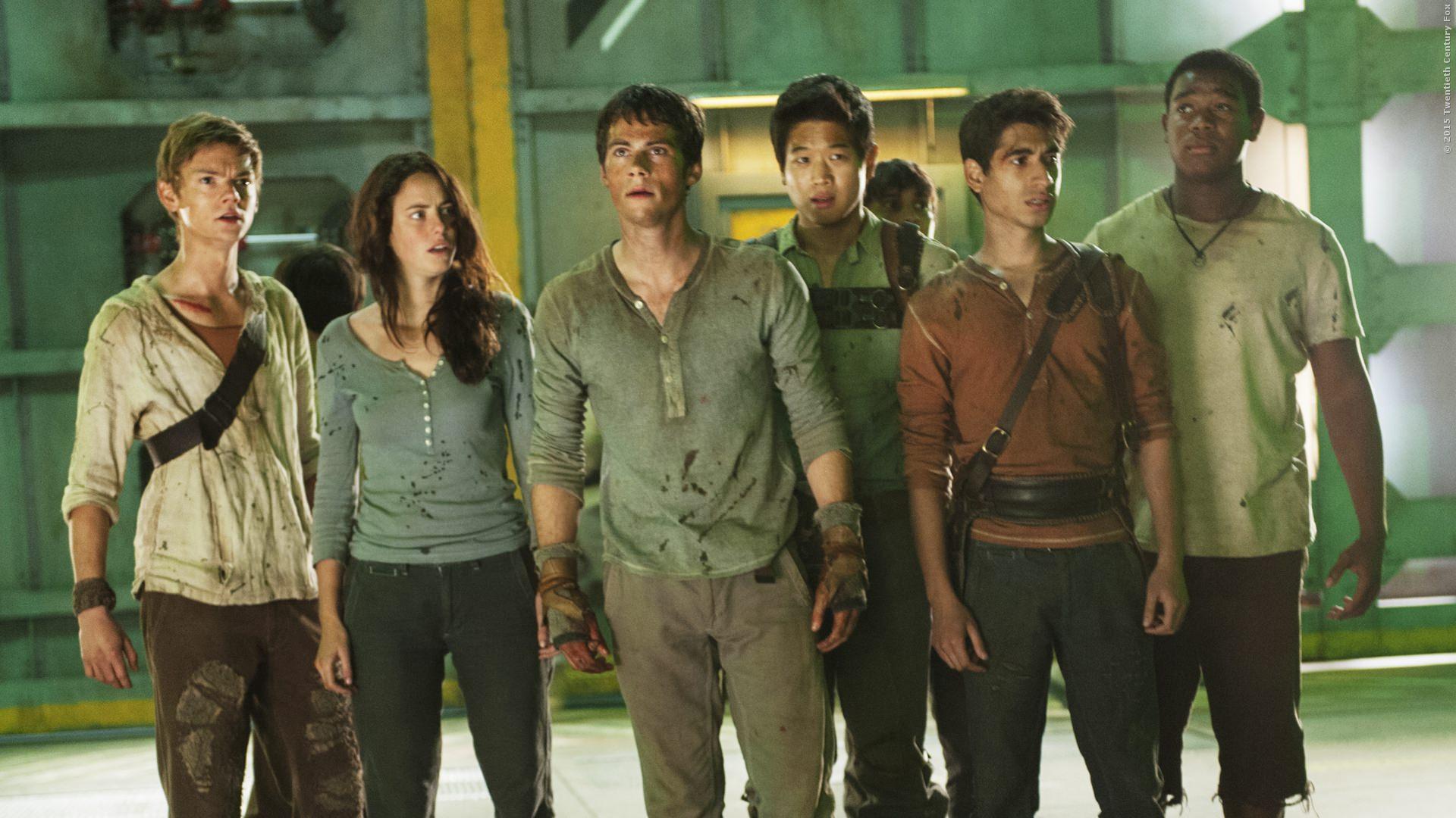 Newt (Thomas Brodie-Sangster), Teresa (Kaya Scodelario), Thomas (Dylan OBrien) und Minho (Ki Hong Lee)