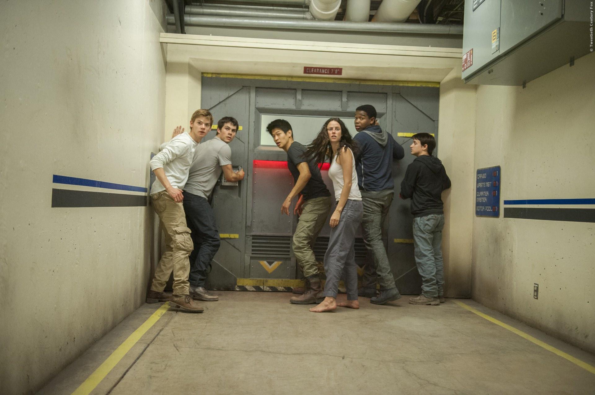 Newt (Thomas Brodie-Sangster), Thomas (Dylan OBrien), Minho (Ki Hong Lee), und Teresa (Kaya Scodelario)