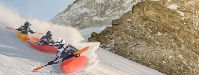 Pro7 Wintergames: Promis im Kajak auf Skipisten