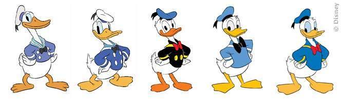 Donald Duck im Wandel der Zeit