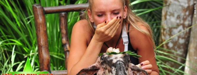 Evelyn Burdecki bei der ekligsten Dschungelprüfung